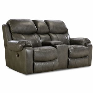Sammie's Furniture, HomeStretch, Hayden reclining console leather loveseat, grey