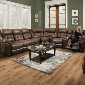 Sammie's Furniture, HomeStretch, power reclining super wedge sectional, Saddle