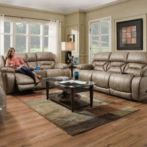 Sammie's Furniture, HomeStretch, Enterprise Power Reclining Sofa, mushroom light brown/grey