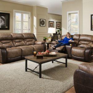 Sammie's Furniture, HomeStretch, Enterprise power reclining sofa, Saddle
