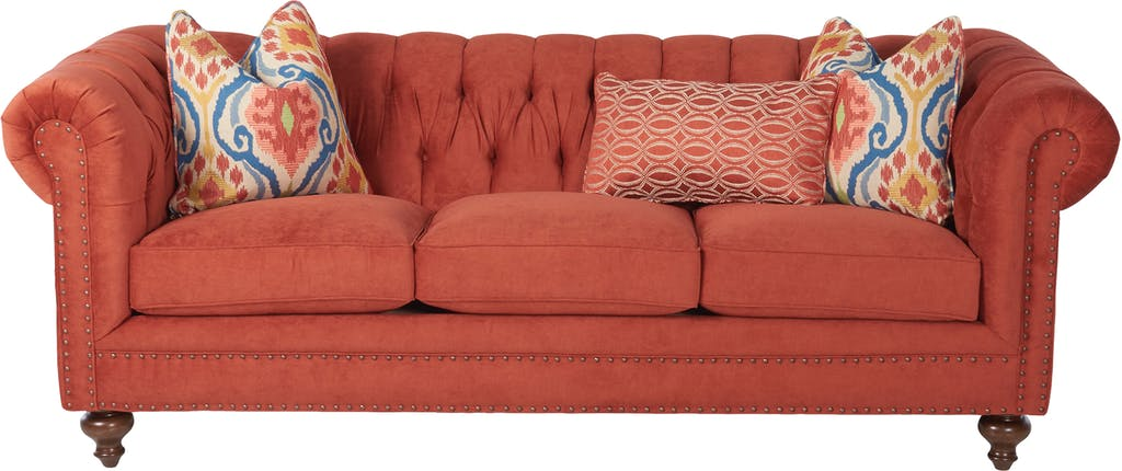 Sammie's Furniture, Custom made furniture, red, orange, sofa, nail heads, solid wood, Living Room made in America
