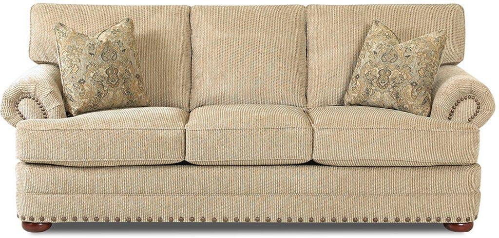 Sammie's Furniture, Custom made furniture, beige, sofa, nail heads, solid wood, Living Room made in America