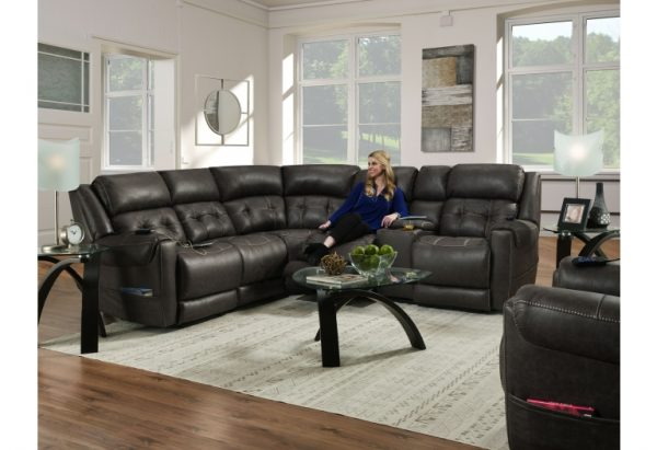Sammie's Furniture, HomeStretch, power reclining sectional, smoke